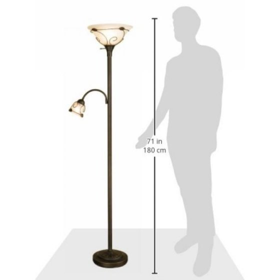 Normande Lighting Jm1 884 71 Inch Torchiere Floor Lamp Is A Black Painted Finish 100 Watt Incandescent Side Reading
