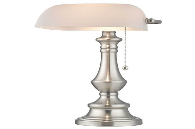 Satin Nickel Traditional Bankers Lamp with Pull-Chain
